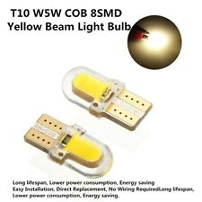 10pcs Yellow T10 194 168 W5W COB 8 SMD LED CANBUS Silica License Light Bulb Warm