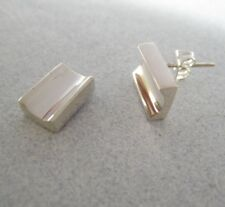 Mexican Silver Taxco Classic LONG Nugget Thick Submerged Middle Post Earrings