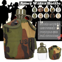 Army Military Styled Aluminum Drinking Bottle Canteen Water Cup Outdoor