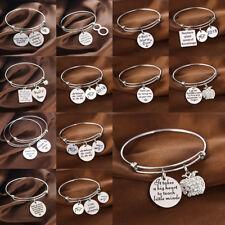 Stainless Steel Bangle Bracelet Jewelry For Mom Dad Sister Grandma Grandpa Gift
