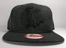 Chicago Blackhawks New Era 9Fifty Black Graphite Original Snapback Hat Cap NHL