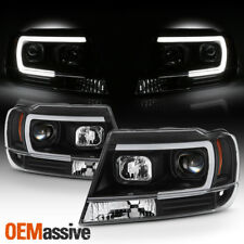 Fits 1999-2004 Jeep Grand Cherokee Black Full LED DRL Tube Projector Headlights