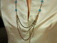 Beautiful Vintage 1950s Art Glass Blue Glass Necklace 16MY5