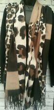 Ladies Large Soft Wool/acrylic Scarf Animal Leopard Square Print chocolate beige