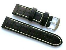 24mm Brown/White Crocodile Grain Leather Watch Strap For Invicta 24 or Big Watch