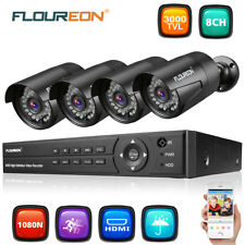 FLOUREON 8CH HD 1080P DVR 3000TVL Home Security Cameras CCTV Surveillance System