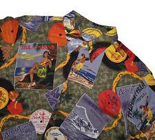 Reyn Spooner Vintage Hawaiian Shirt Size Medium Hula Girl Records Allover Print