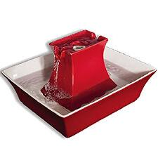 Red Ceramic Pagoda Pet Drinking Fountain 70oz Medium Dog Cat Water Bowl 12V Pump