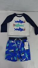 Nwt Old Navy Toddler Boys 2 Piece Swim Set Sharks - Size 18-24 mos - Upf 50