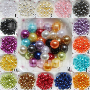 500Pcs 6mm Acrylic Round Pearl Spacer Loose Beads Children DIY Jewelry