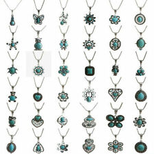 Women Retro Tibetan Silver Plated Chian Charming Turquoise Pendant Necklace New