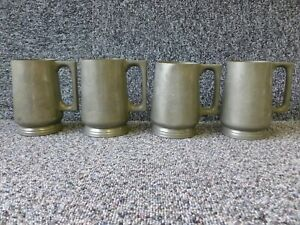 4 Glass Bottom Pint Pewter Tankards by HUIKEE of Swatow Chinese Dragons Pattern