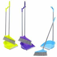 Upright Long Handle Dustpan And Brush Set Broom Sweep Clean Clip Handle Disposal