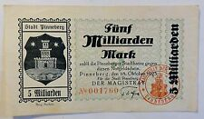 "Stadt Pinneberg 5/Fünf Milliarden Mark"" 18.10.1923 -Inflation- Notgeld"