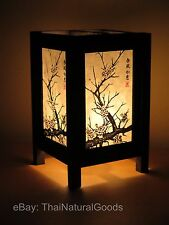 Asian Oriental Japanese Cherry Bedside Table Lamp Wood Shades Desk Night Lights