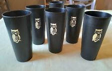 Vtg Nasco Plastic Drinking Glass Tumbler Owl Outdoor Patio Picnic Ware Set of 6