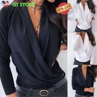 Women V Neck Long Sleeve Casual Shirt Ladies Plain OL Office Work Blouse Tops US