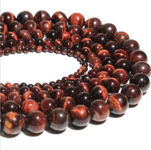 30PCS Round Natural Red Tinger Eye Gemstone Loose Beads 6mm