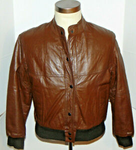 VINTAGE WOMEN'S SEARS CAFE RACER SOFT LEATHER MOTORCYCLE JACKET! BROWN! USA 14