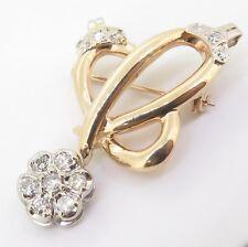 .Vintage 14K Yellow Gold 0.60ct Diamond Set Flower Brooch / Pendant Val $3665
