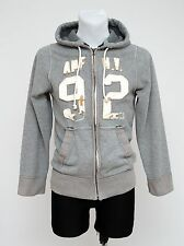 MENS ABERCROMBIE&FITCH HOODIE RIPPED ZIP CARDIGAN JACKET GREY SIZE S SMALL