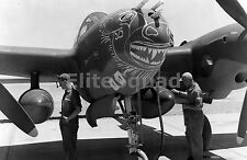 WW2 Picture Unusual nose art stenciling on a P-38G #733