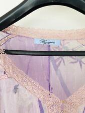 Rare Blumarine Sheer Long Sleeve Silk Short Caftan Top Sz 42 Made In Italy