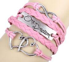 Damen Herren Leder Armband Armschmuck #One Direction Unendlich Herzen Rosa
