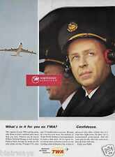 """TWA """"WHAT'S IN IT FOR YOU ON TWA? CONFIDENCE MILLION MILE CAPTAIN & 707 AD"""