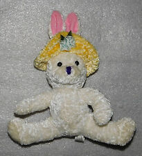 White Rabbit Plush Stuffed Animal Toy Easter Yellow Hat Blue Flower 8 in Holiday
