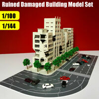 1/100 1/144 Ruined Damaged Building Model Tree Cars Road After War Outland Scene