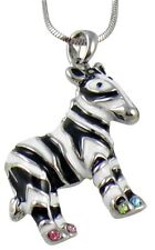 Small Adorable Zebra Pendant Necklace Celebrity Style Rhodium Plated Gift Boxed