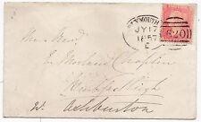 * 1857 PLYMOUTH SPOON 1d STAR COVER TO REV E MORLAND CHAPLIN - JULY 17th DEVON