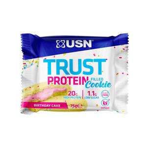 USN Trust Protein Filled Cookie Birthday Cake Flavor,12 x 75g Cookies BBD:11/20