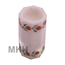 Handmade White Marble Inlay Pen Stand Desk Holder Vintage Pietra Dura Marquetry