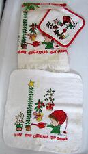 VTG Marty Links Hallmark Cards Christmas 3 Pc Terry Cloth Set Towel Potholder
