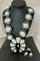 White Buffalo TURQUOISE Sterling Squash Blossom Necklace NAJA Pendant Navajo 696