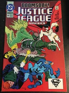 Justice League America#69 Incredible Condition 9.4(1992) Vs Doomsday!!