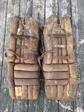 Vintage Leather Hockey Goalie Pads Game Used Brown Canada