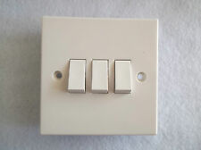 3 GANG 2 WAY OR 1 WAY SWITCH - STANDARD WHITE TRIPLE SWITCH BY BG. SQUARE EDGE