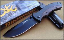 Couteau Browning Linerlock Lame Acier Inox Manche Bois/Acier Liner BR136