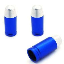 3 Blue Billet Bullet Tire Air Valve Stem Dust Caps Trike ATV Bike Wheels