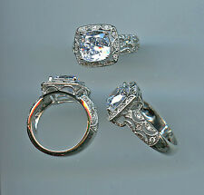 925 SILVER 3.25 CARAT CUSHION CUT SIGNITY CZ HALO ENGAGEMENT RING SIZE 5