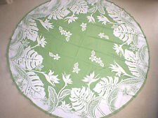 "70"" Round Bird Of Paradise Water Resist Hawaii Print Fabric Tablecloth SAGE"