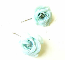 2 x Mint Green Rose Flower Hair Grips Clips Bridesmaid Bobby Pins Slides 1783