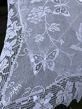 More details for vintage hand crochet tablecloth. mary card crochet . butterflies and grapevines.