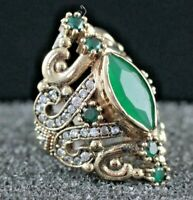 Turkish Emerald Ladies Ring 925 Sterling Silver Handmade Gemstone Size 6-10