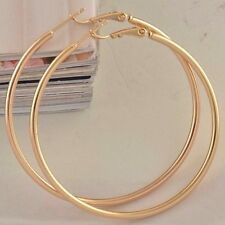 "9ct 9K Yellow ""Gold Filled"" Ladies Girls Plain Hoop Earrings. 50mm Gift"