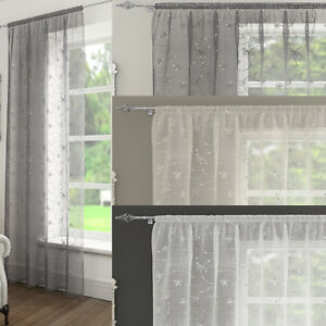 ARIANA Embroidered Sequin Voile Net Curtain Ready Made Slot Top Single Panel