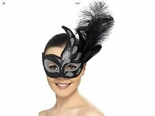 LADIES BLACK & SILVER ORNATE COLOMBINA FEATHER EYEMASK MASQUERADE FANCY DRESS